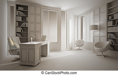 3d clay render of a luxury office, interior design