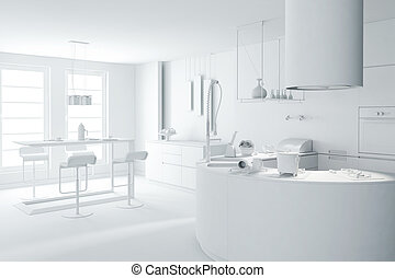 3d clay render of a modern kitchen