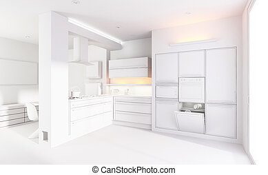 3d clay render of a modern kitchen interior design