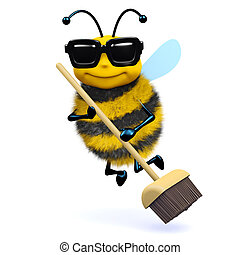 3d Cleaner bee - 3d render of a bee with a broom