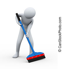 3d cleaner person with floor wiper