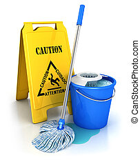 3d cleaning equipment, isolated white background, 3d image