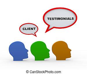3d client testimonials heads - 3d render of various human...