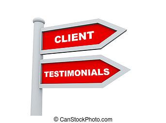 3d client testimonials road sign - 3d road sign of text...