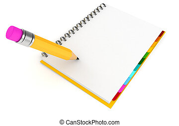 3d clipboard with blank pages on white background