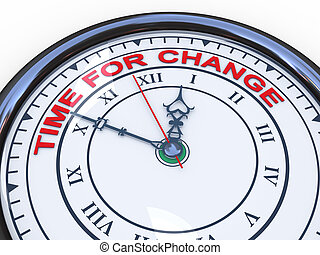 3d clock - time for change - 3d illustration of closeup of ...