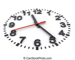 3d clockface on white background, digitally generated image.