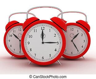 3d, clocks, ligado, white., tempo, conceito