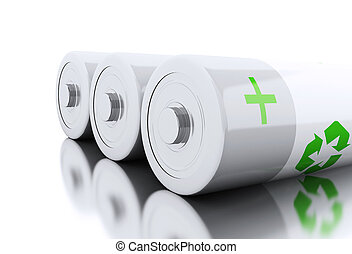 3d Close up of batteries with recycling symbol