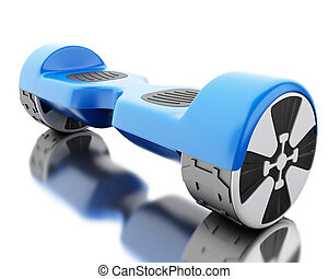 3d Close up of blue self-balancing scooter