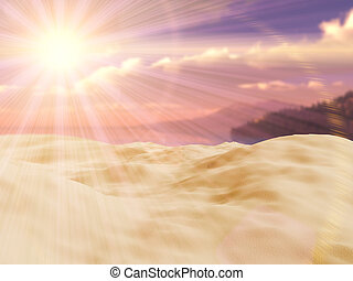 3D close up of sand looking out to tropical landscape