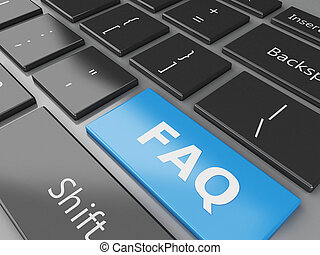 3d Close up view of keyboard FAQ button