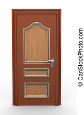 3d closed door - 3d render of closed wooden door on white...