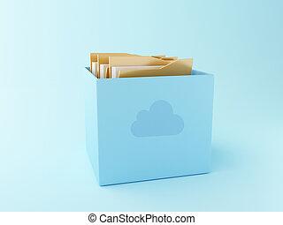 3d Cloud box with files. Cloud storage