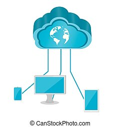 3d cloud computing icon connected to devices