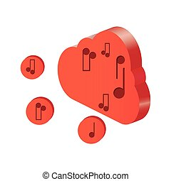 3d cloud computing icon with musical notes