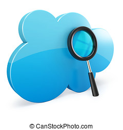 3d cloud computing search on white background