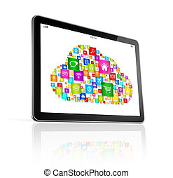 Cloud computing symbol on Digital Tablet pc