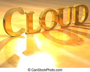 3D Cloud Gold text