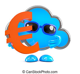 3d Cloud holds a Euro currency symbol
