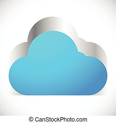 3d Cloud icon with metallic extrusion. Editable vector