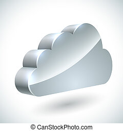 3D cloud internet service icon