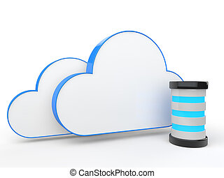 3d cloud storage concept