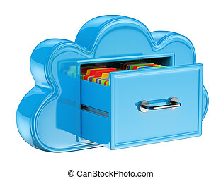 3D Cloud storage services concept . Isolated white background.