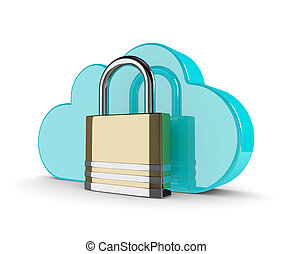 3d cloud with closed padlock isolated on white background
