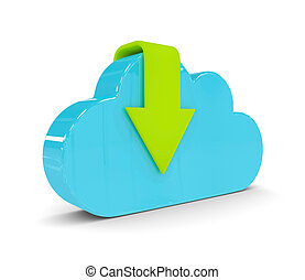 3d cloud with download arrow isolated over white