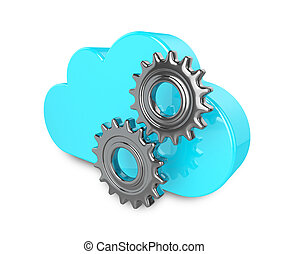 3d cloud with gears isolated on white background