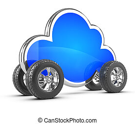 3d Cloud with wheels - 3d render of a cloud with wheels