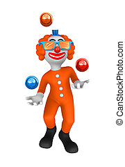 3d clown. Juggler