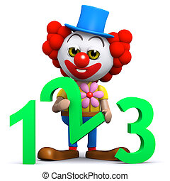 3d Clown learns to count