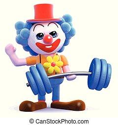 3d Clown lifts weights