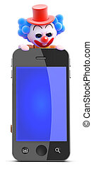 3d Clown looks over a smartphone