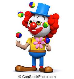 3d render of a clown juggling