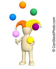 3d clown - puppet, juggling with balls - 3d clown - puppet,...