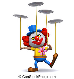 3d Clown spins plates - 3d render of a clown spinning many...