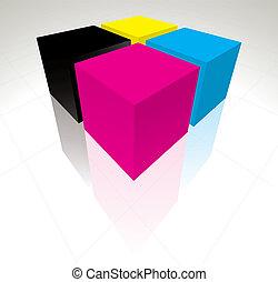 3d, cmyk, 立方体