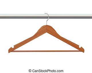 3d coat wooden cloth hanger - 3d rendering of wooden coat...