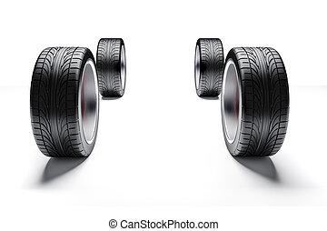 3d, coche, neumáticos, y, aleación, ruedas