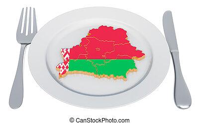 3d, cocina, placa, mapa, belarus., interpretación, concept., belorussian