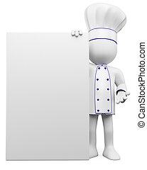 3d, cocinero, con, un, blanco, cartel
