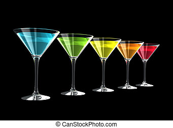 3D cocktail glasses - cocktail glasses isolated on a black ...