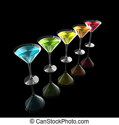 3D cocktail glasses - cocktail glasses isolated on a black...