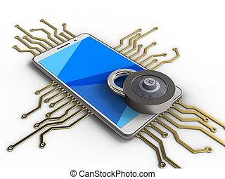 3d code lock - 3d illustration of white phone over white...