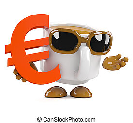 3d Coffee cup holds a Euro currency symbol