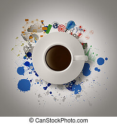 3d coffee cup on business strategy diagram