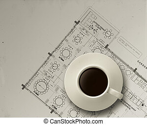 3d coffee cup on engineer architectural blue print